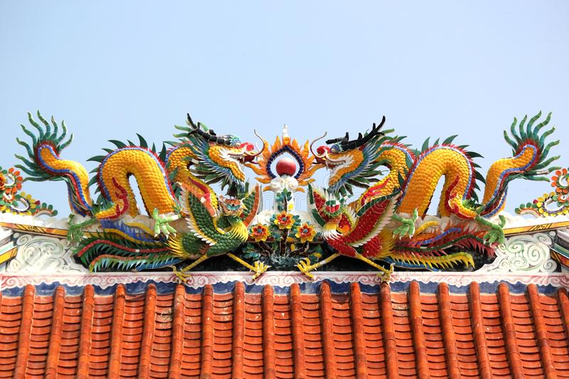 Golden dragon in chinese shrine royalty free stock images
