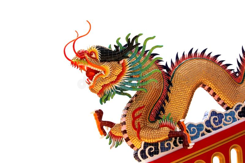 Golden dragon in chinese temple stock images