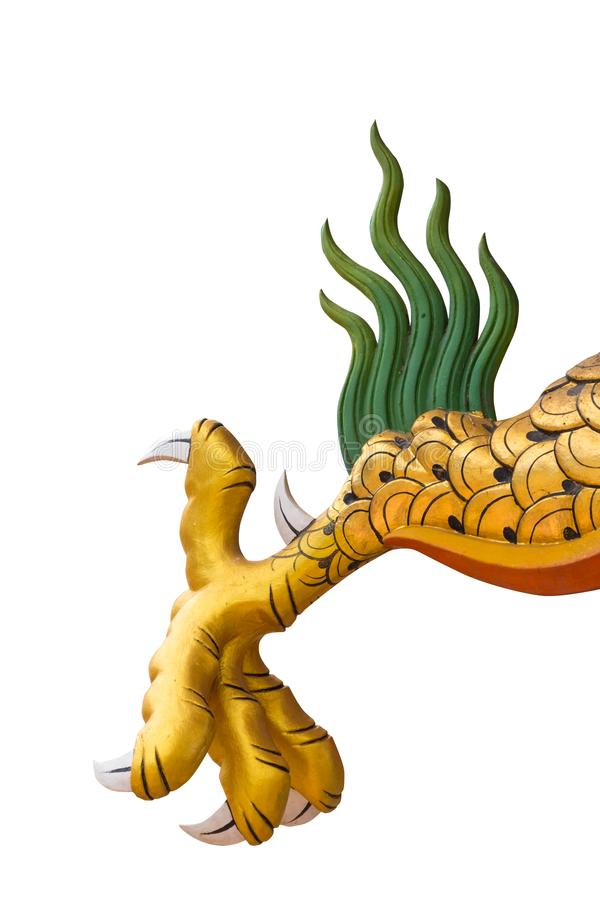 Dragon or monster paw. Golden dragon claw dragon foot statue on white background royalty free stock photos