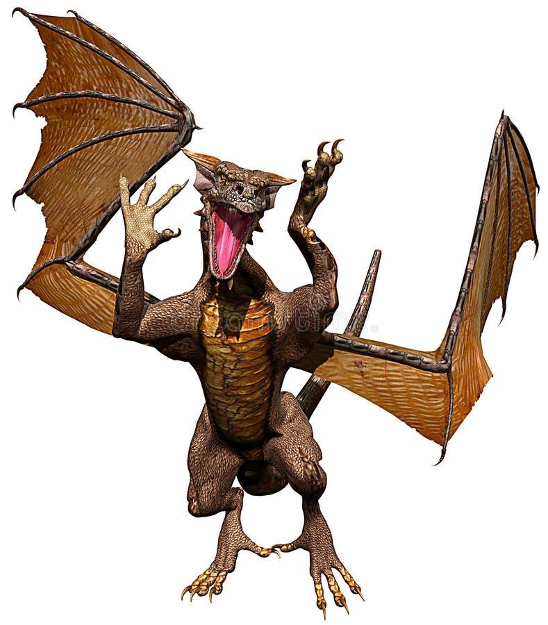 Golden dragon front attacking vector illustration