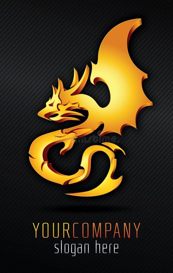 Golden Dragon. Gold 3D vector dragon vector illustration