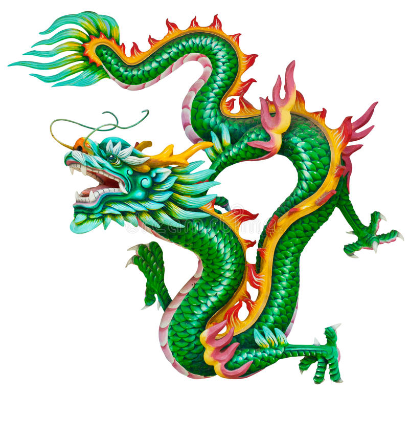 Golden dragon isolated on white stock photos