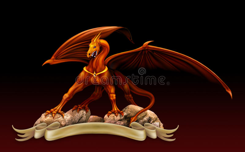 Golden dragon on the rocks royalty free illustration