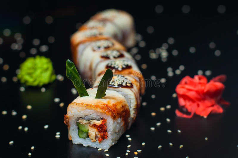 Golden Dragon Roll with eel stock images