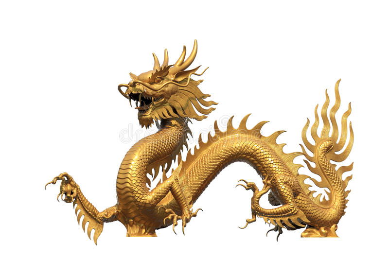 Golden dragon statue royalty free stock image