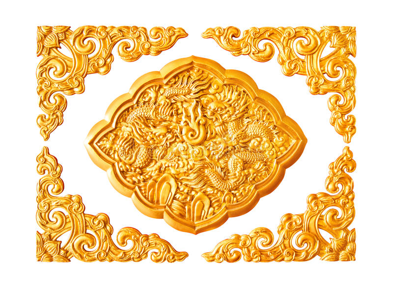 Golden dragon stucco decoration elements isolated. Golden dragon stucco decoration elements on white with frame royalty free stock photo