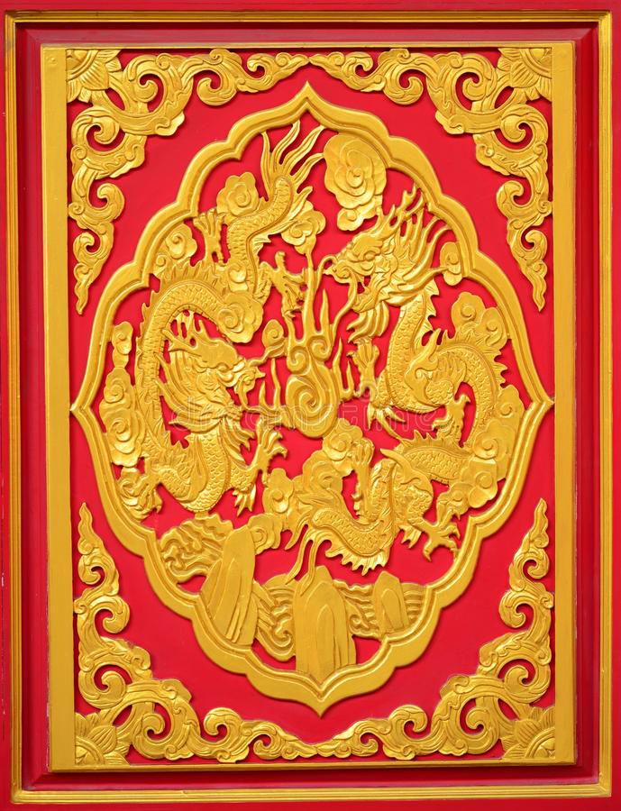 Free Golden Dragon Wall Stock Images - 37207384