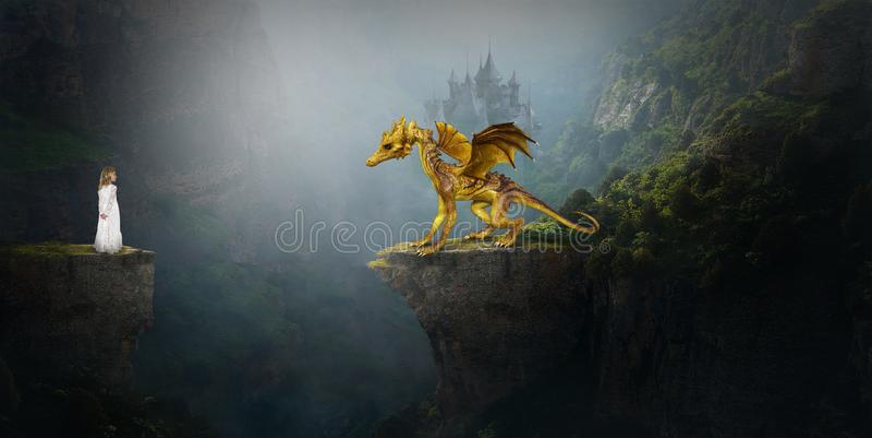 Golden Dragon, Young Girl, Imagination stock illustration