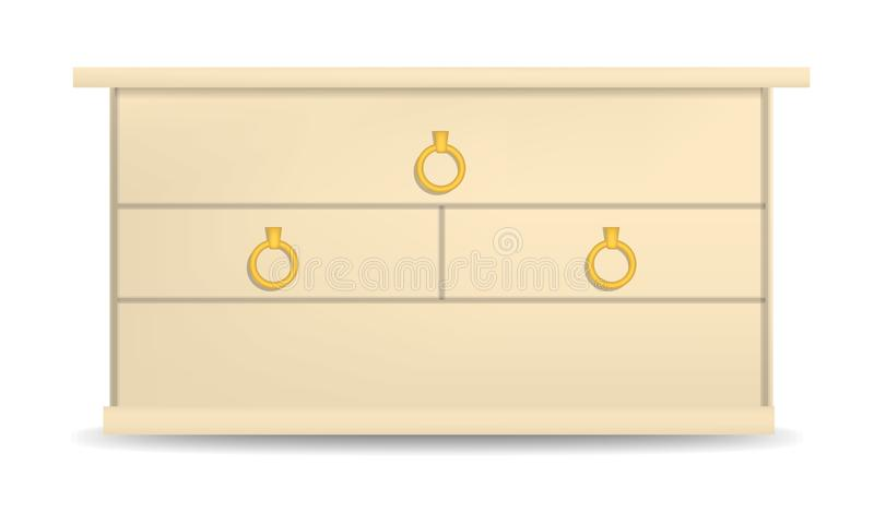 Golden drawer mockup, realistic style. Golden drawer mockup. Realistic illustration of golden drawer vector mockup for web design isolated on white background royalty free illustration