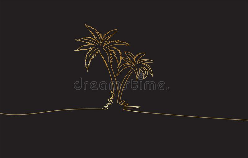 Golden Drawing sketch of coconut palm trees stock image
