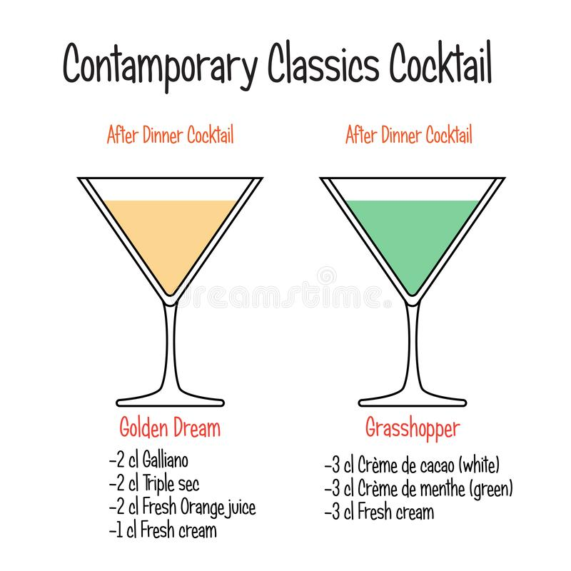 Golden dream cocktail and grasshopper cocktail recipe. Set of hand drawn alcoholic drinks, Golden dream cocktail and grasshopper cocktail recipe. Bartender guide royalty free illustration
