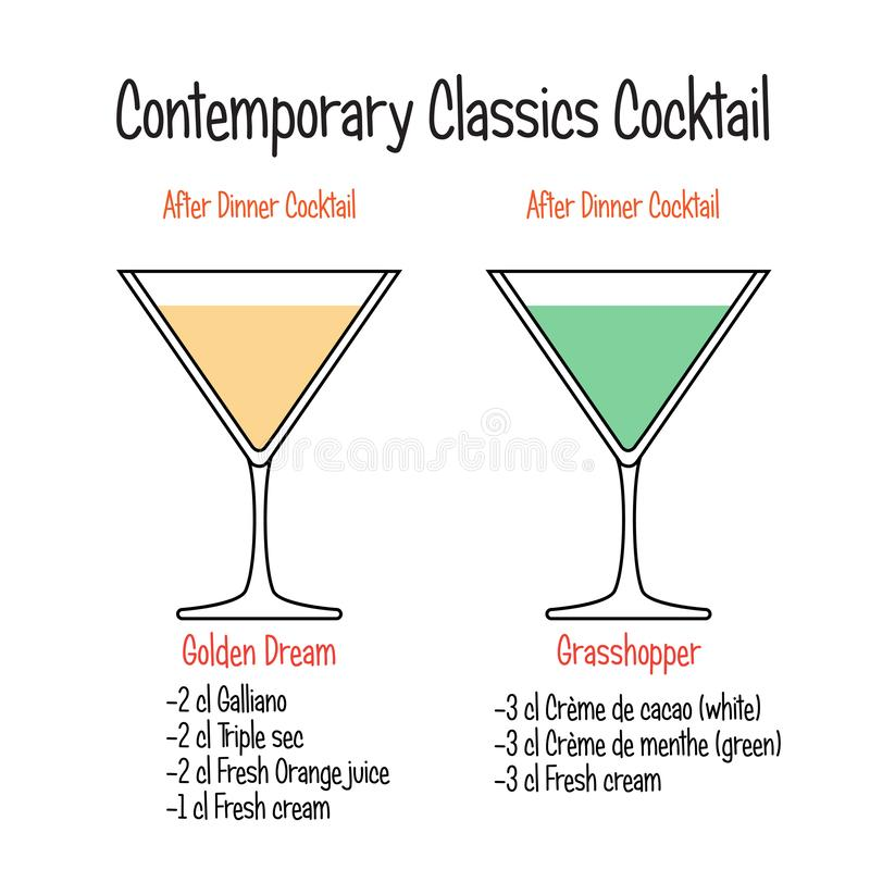 Golden dream cocktail and grasshopper cocktail recipe. Set of hand drawn alcoholic drinks, Golden dream cocktail and grasshopper cocktail recipe. Bartender guide stock illustration