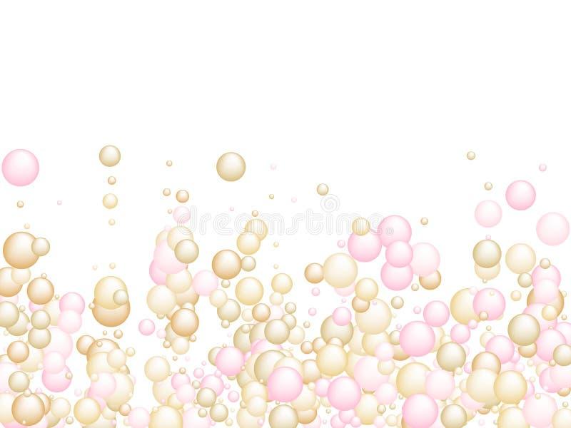 Golden droplet av olja eller kollagenessens Vitaminkomplext koncept i rosguld-färger stock illustrationer