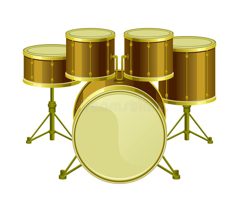 Golden drums set vector illustration