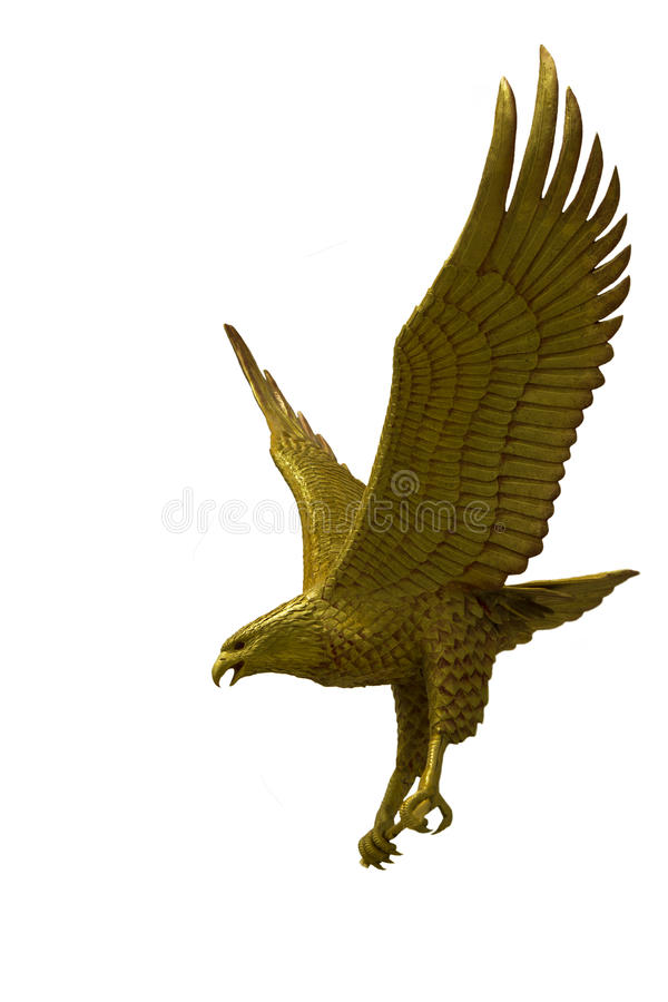 Golden eagle statue with big expanded wings. Stock Photo royalty free stock images