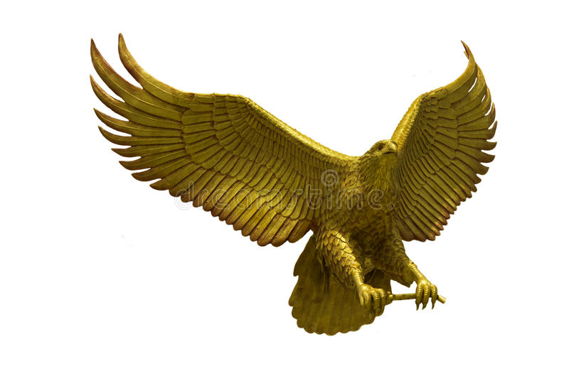 Golden eagle statue with big expanded wings. Stock Photo stock image