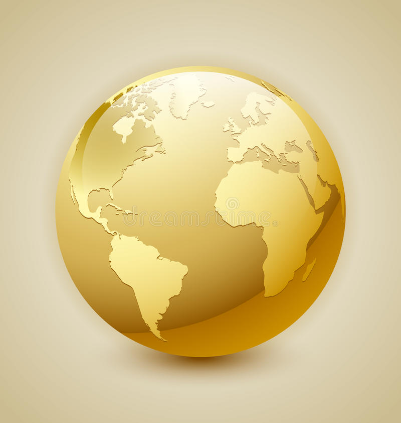 Golden Earth icon royalty free illustration