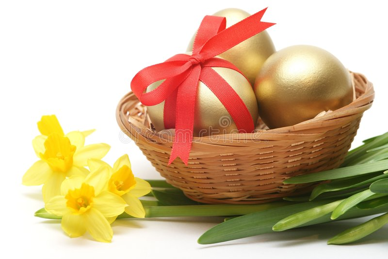 Golden easter stock images