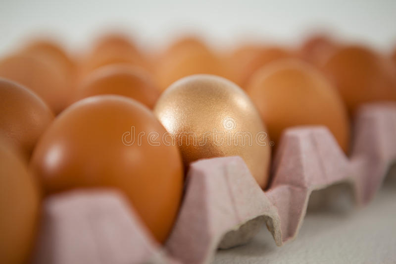 Golden Easter egg in carton. Close-up of golden Easter egg in carton stock images