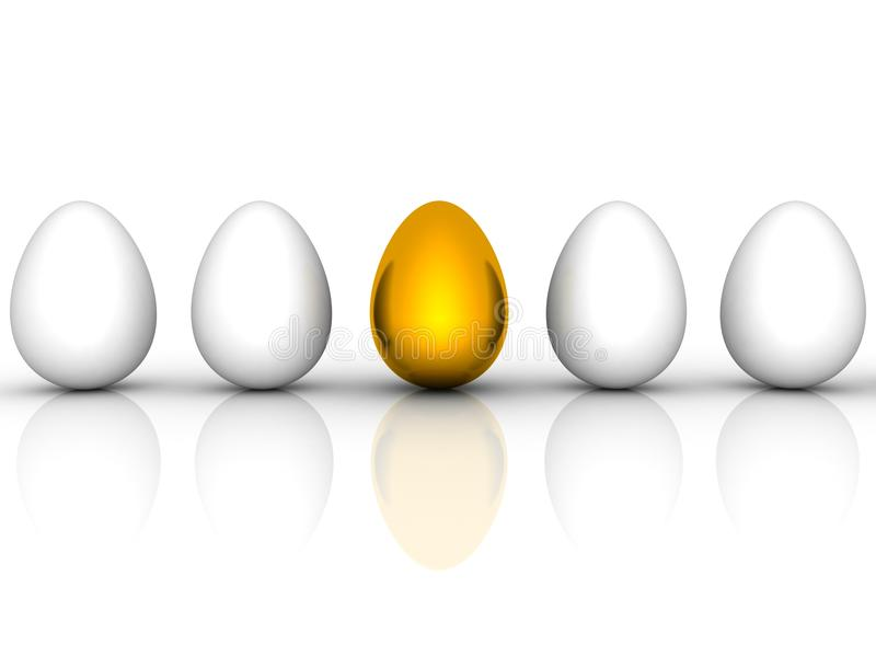 Golden Easter Egg Among Similar White Eggs Stock Photography