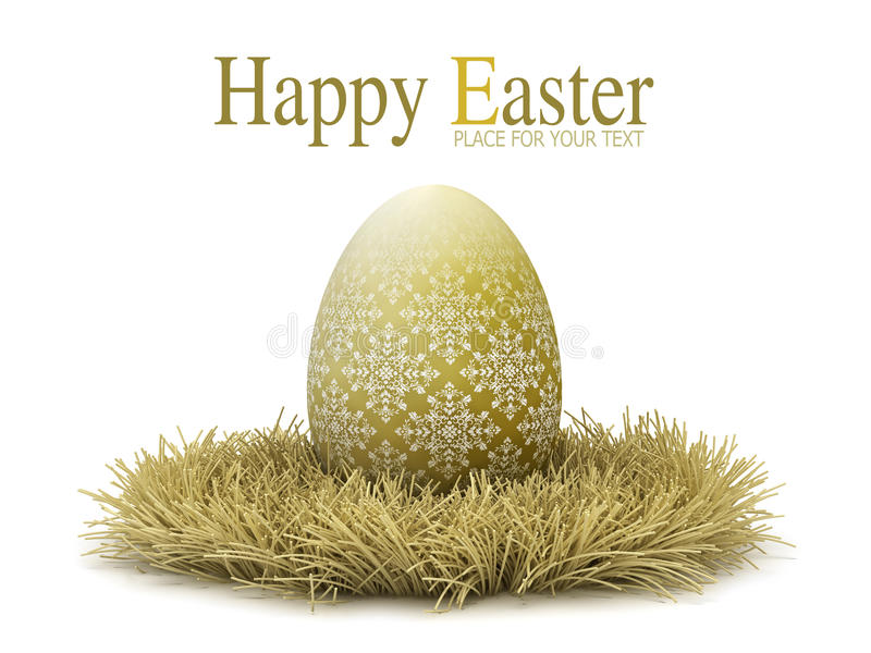 Golden Easter egg on white background royalty free stock images