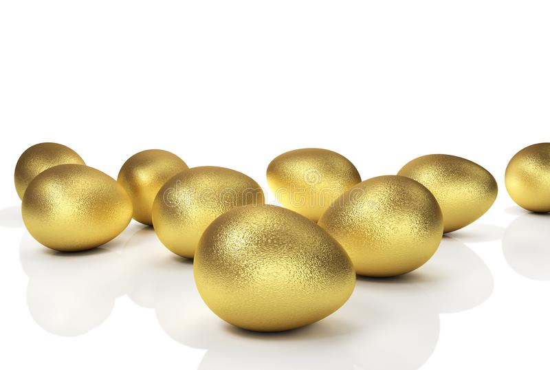 Golden Easter Eggs Isolated On White Background. 3D Illusration stock illustration