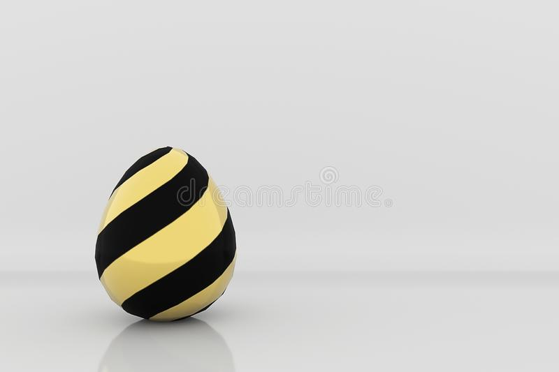 Golden egg in black stripes pattern on grey studio background 3d render happy easter card stock illustration
