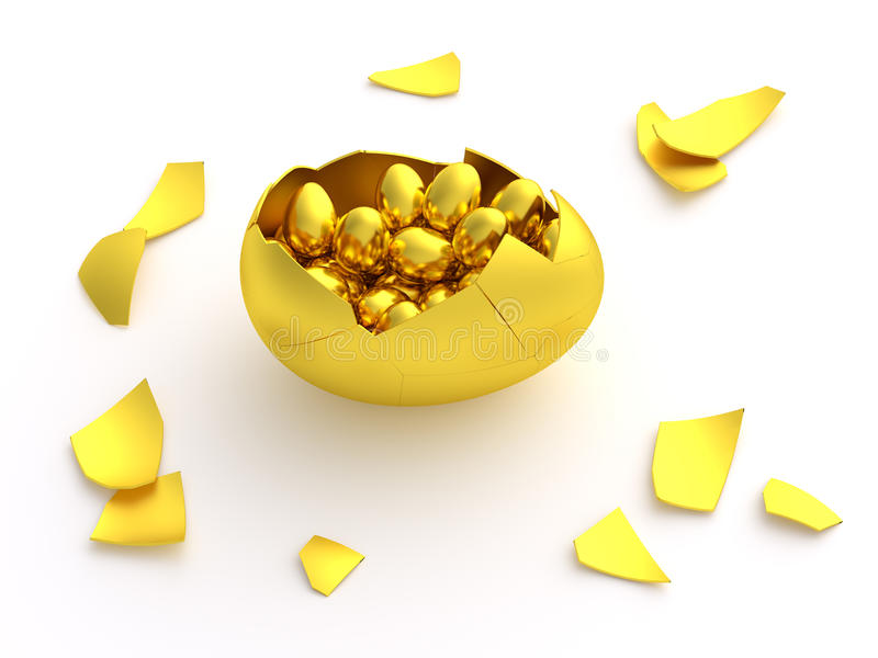 Golden egg crack opened with eggs. Isolated gold eggs cracked and hatched full of smaller eggs inside. Theme for Easter egg hunting fun or metaphor for financial royalty free illustration