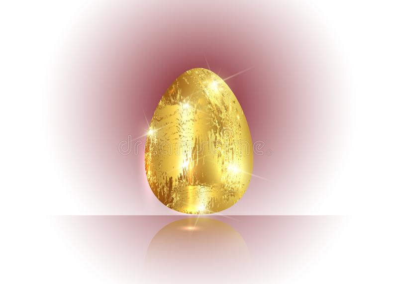 Golden egg icon isolated on light color background for Happy Easter day greeting card in gold leaf coating style vector illustration