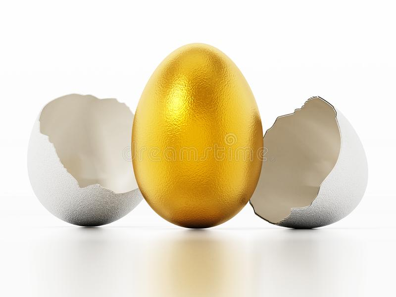 Golden egg inside regular white egg shell. 3D illustration royalty free illustration