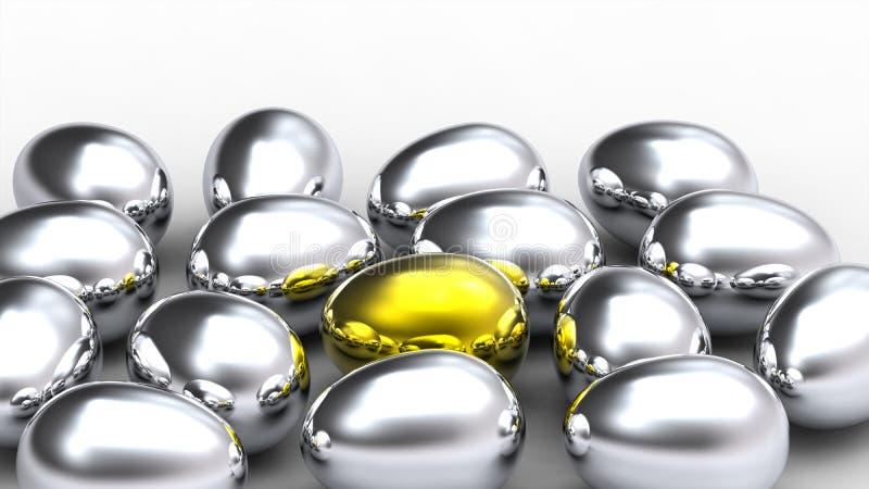 Download Golden Egg In The Middle Of Argent Eggs Stock Illustration - Image: 12444791