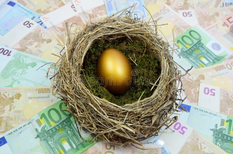 Golden Egg In Nest Royalty Free Stock Image