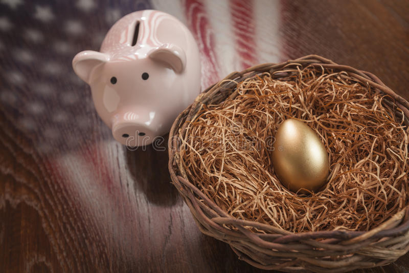 Download Golden Egg, Nest And Piggy Bank With American Flag Reflection Stock Image - Image of nest, financial: 41287595