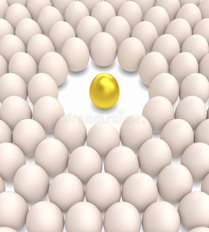 Golden egg among normal eggs. Eggs arranged in circular array occupied the whole picture with clear zone for one gold egg. Metaphor for standing out, great vector illustration