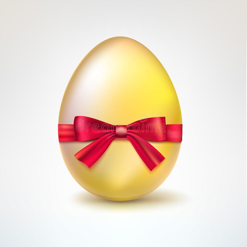 Golden Egg With Red Bow. Stock Vector