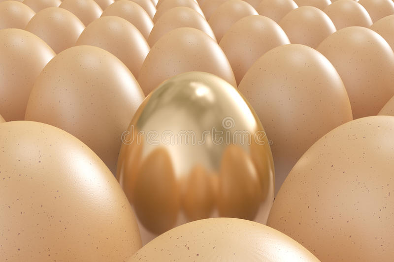 Golden egg standing out from the crowd. High quality 3d image of a golden egg standing out from the crowd vector illustration