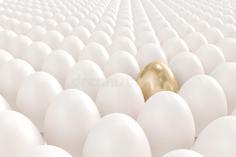 Golden egg standing out from the crowd. High quality 3d image of a golden egg standing out from the crowd royalty free illustration