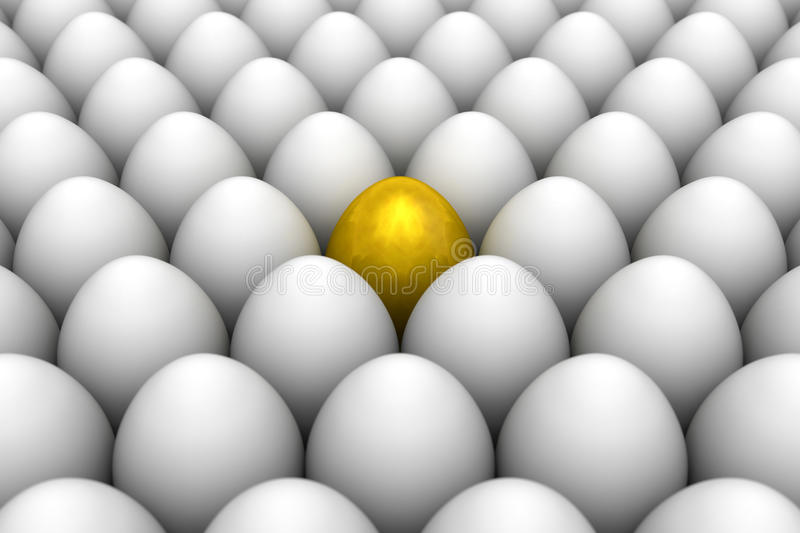 Golden egg standing out from the others. 3D illustration render. Golden eggs. Conceptual illustration. Available in high-resolution and several sizes to fit the stock illustration