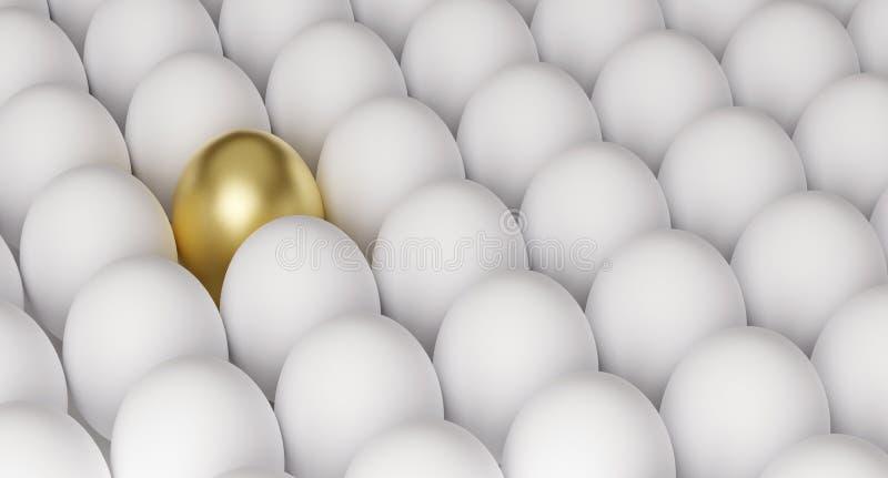 Golden egg among white eggs, symbol of richness or success, 3D render. Illustration stock illustration