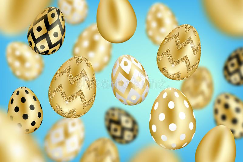 Golden eggs background royalty free illustration