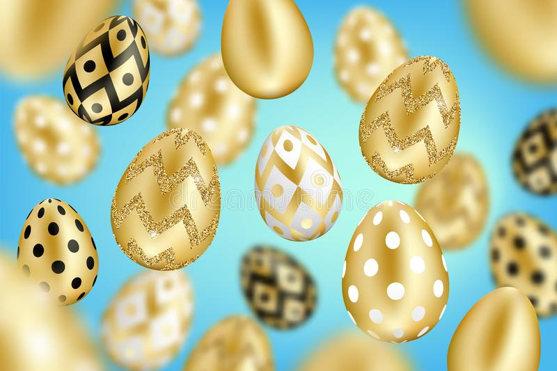Golden eggs background vector illustration