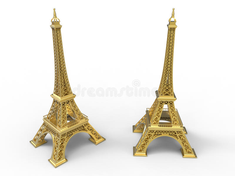 Golden Eiffel tower in 3D royalty free illustration