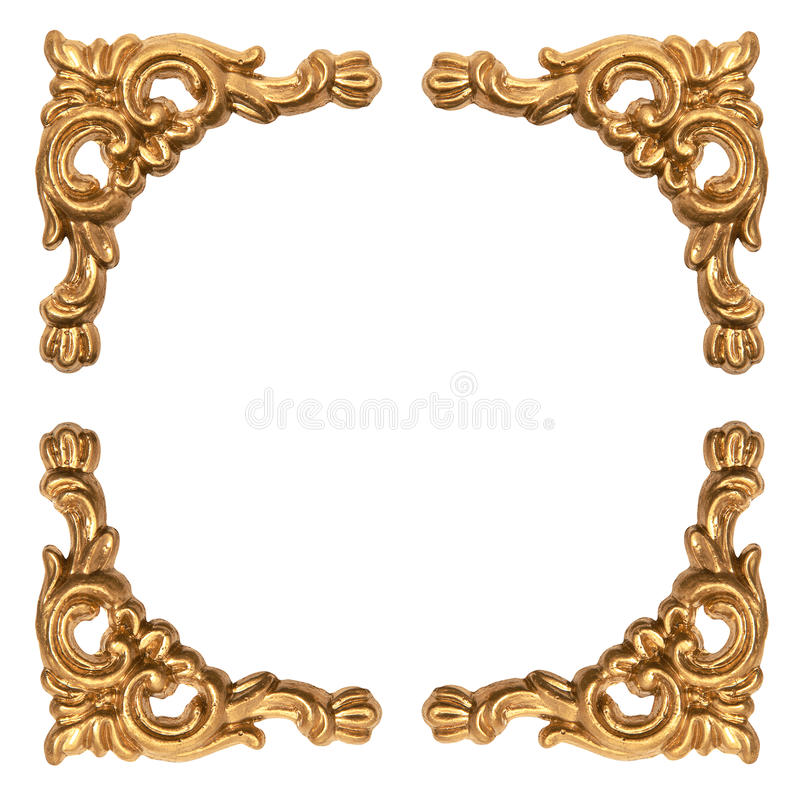 Golden Elements Of Carved Baroque Frame Isolated On White Stock ...