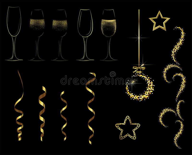 Golden elements for the new year and Christmas stock illustration