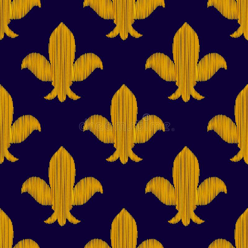 Golden embroidered royal lily ornament on dark blue seamless pattern, vector vector illustration