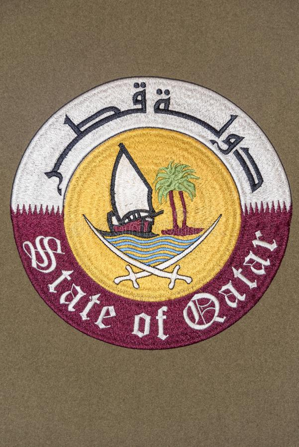 Qatar coat of arms stock image