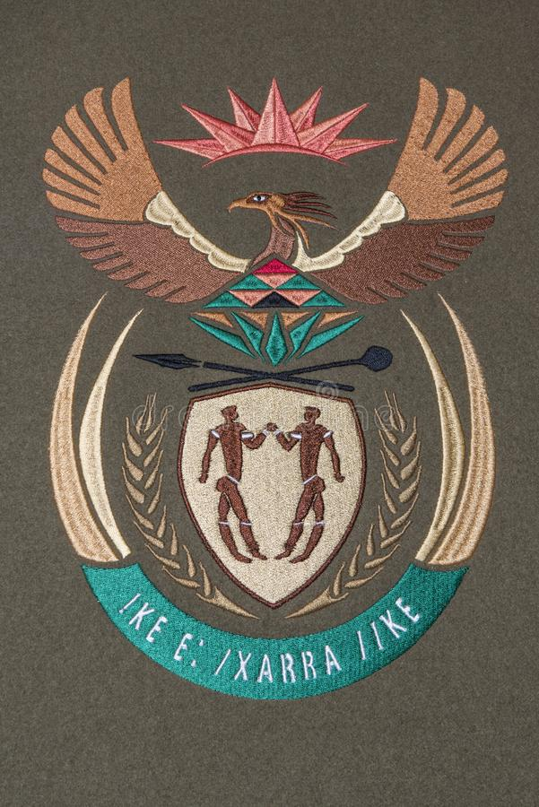 South Africa coat of arms stock photo