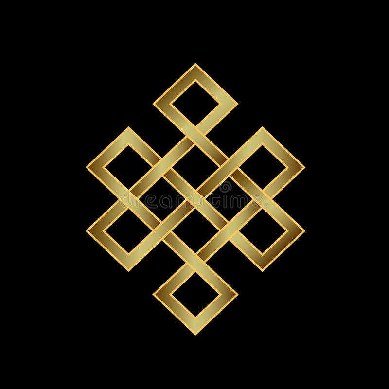Golden Endless knot. Concept of Karma. Time, spirituality royalty free illustration
