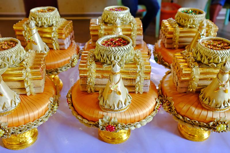 Golden Engagement accessory for Thai ceremony royalty free stock images