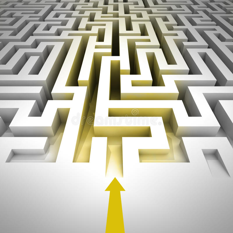 Golden entrance inside to maze with arrow vector illustration